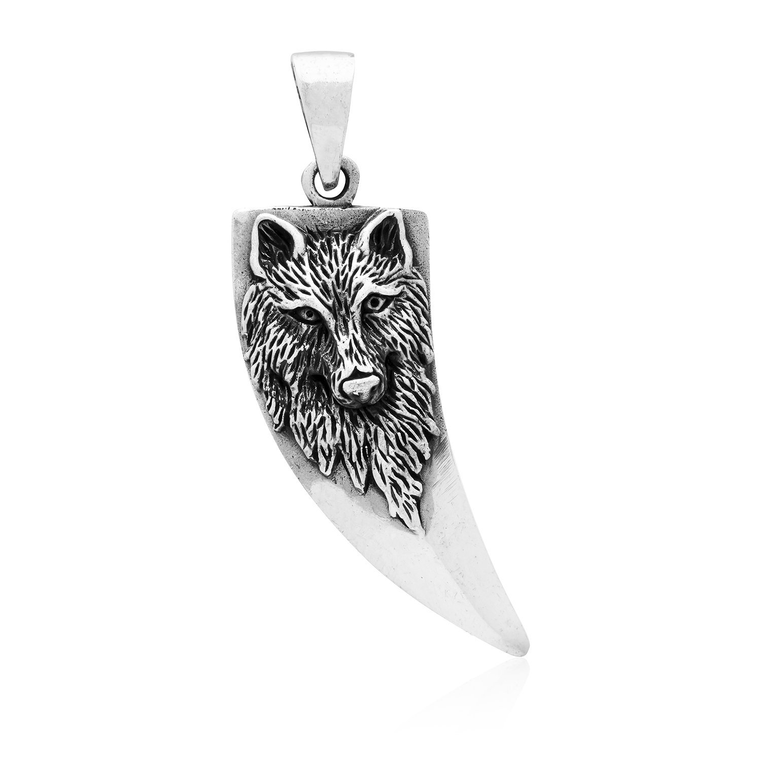 925 Sterling Silver Viking Wolf Tooth Protection Amulet Pendant
