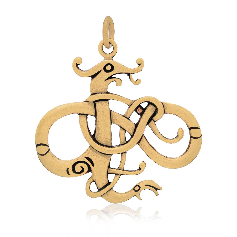 Handcrafted Bronze Viking Dragon Jormungand Urnes Style Large Amulet Pendant