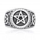 925 Sterling Silver Baphomet Pentagram Lucifer Satanic Satan Wiccan Ring