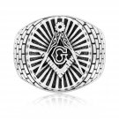 925 Sterling Silver Freemason Masonic Mason Freemasonry Compass Signet Ring