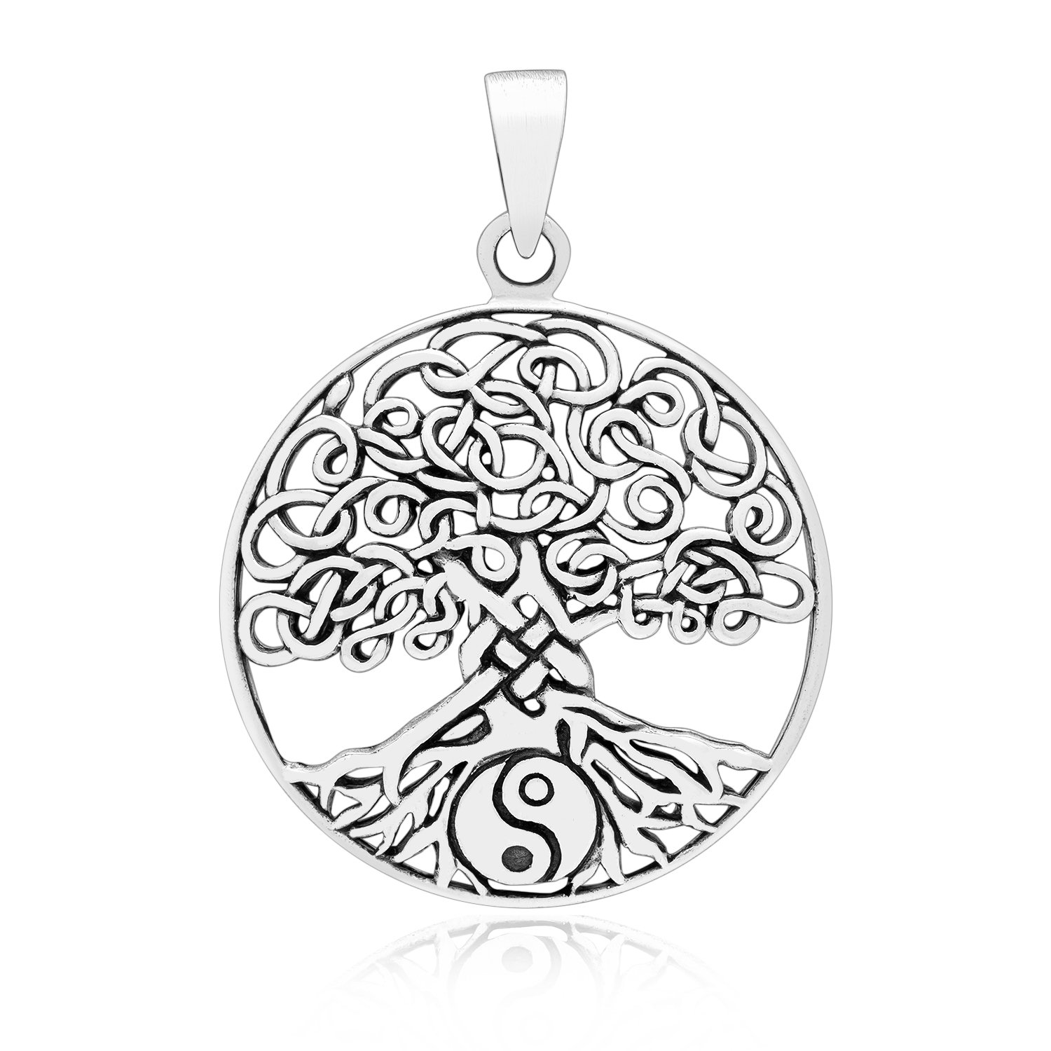 925 Sterling Silver Viking Norse Tree of Life Yggdrasil Ying Yang Round Pendant