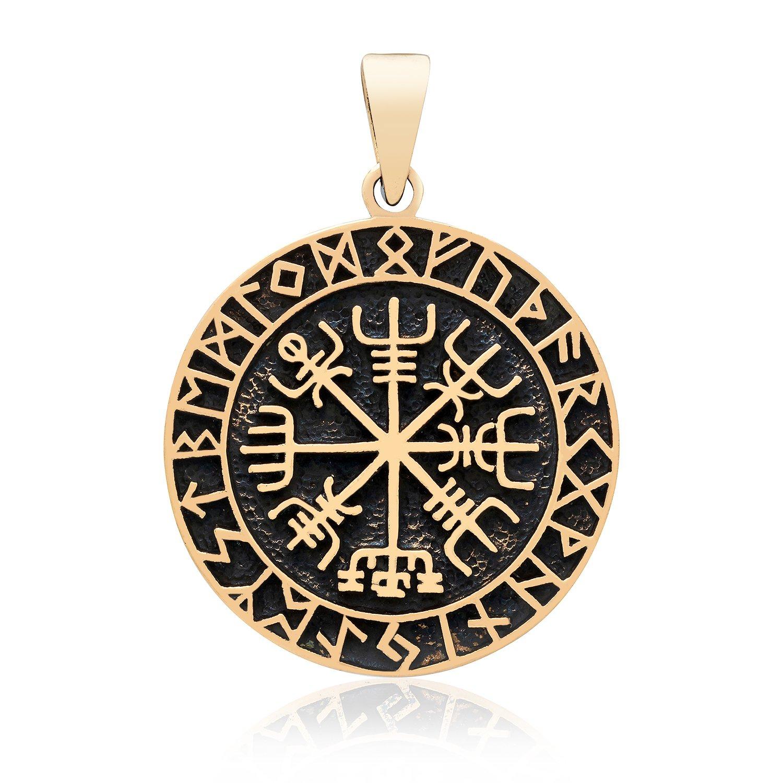 Handcrafted Bronze Vegvisir Viking Compass Runes Futhark Amulet Pendant