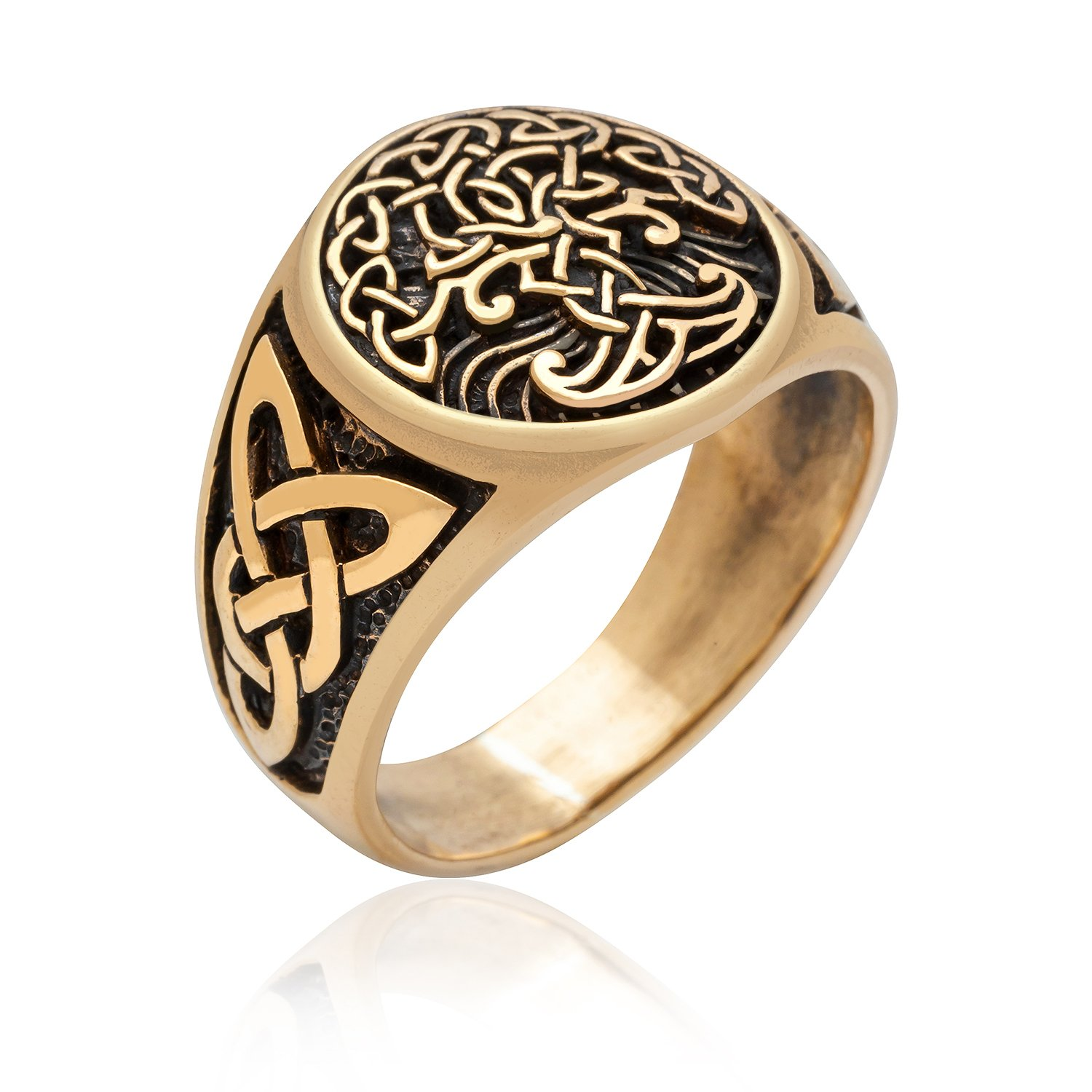 Bronze Viking Tree of Life Yggdrasil Celtic Knotwork Pagan Handcrafted Ring