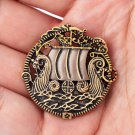 Handcrafted Bronze Viking Ship Drakkar Shirt Lapel Nordic Amulet Brooch Pin Jewelry Badge