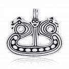 925 Sterling Silver Viking Longship Drakkar Ship Longboat Norse Charm Pendant