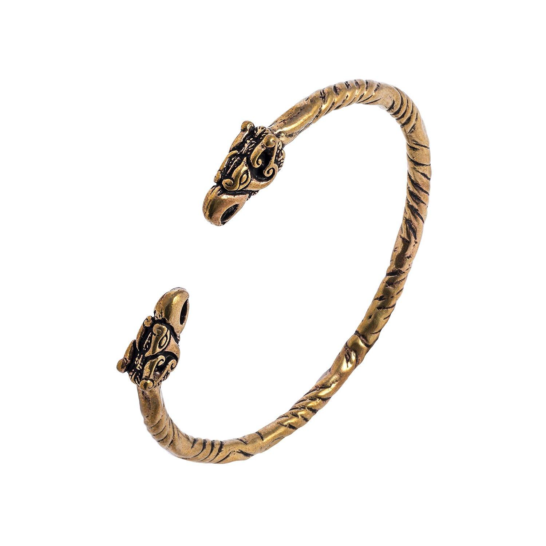 Bronze Viking Griffin Gryphon Odin's Ravens Norse Slavic Bangle Bracelet