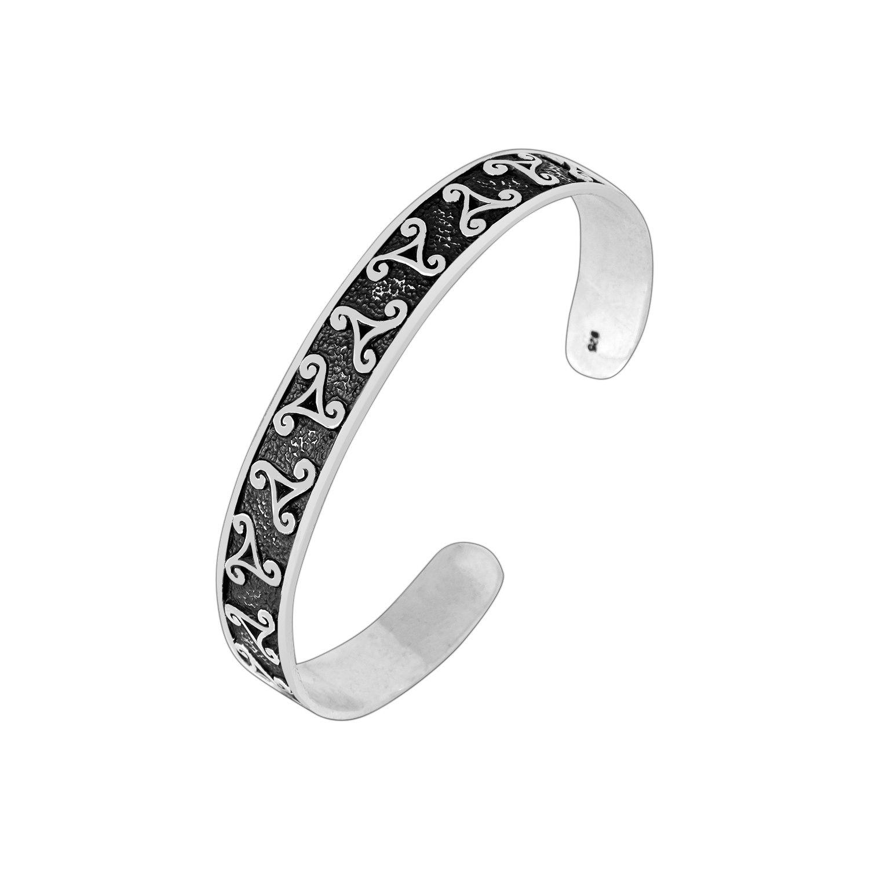 925 Sterling Silver Celtic Irish Triskelion Triskele Knot Viking Bangle Bracelet