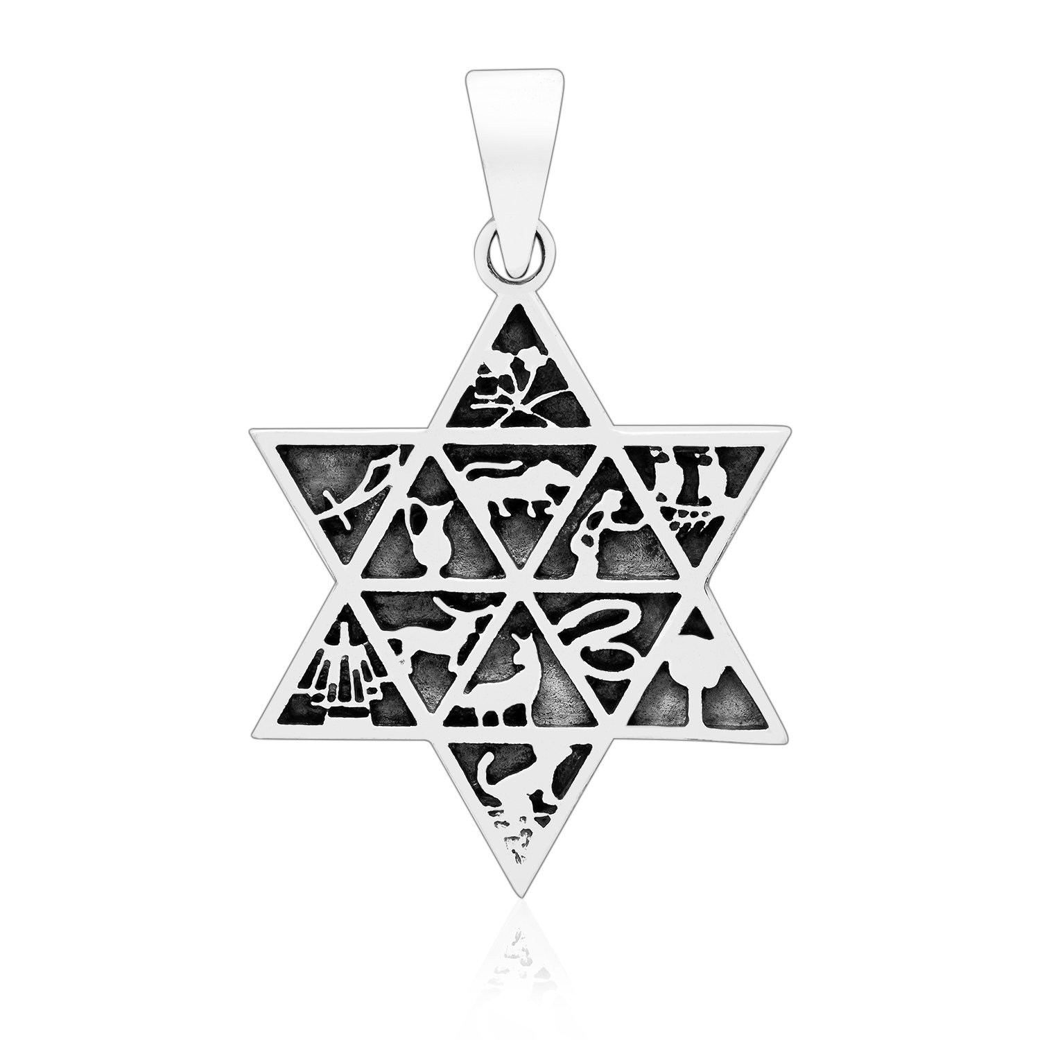Sterling Silver 12 Tribes of Israel Star of David Hebrew Jewish Ethnic Pendant