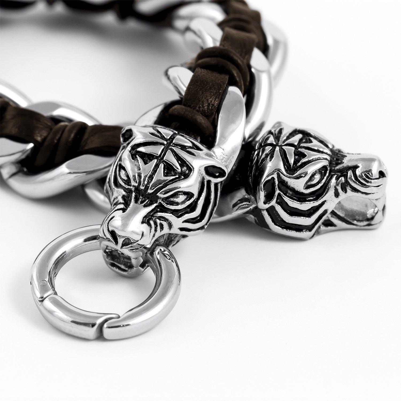 Stainless Steel Viking Tiger Head with Dark Brown Leather Curb Chain Biker Bracelet