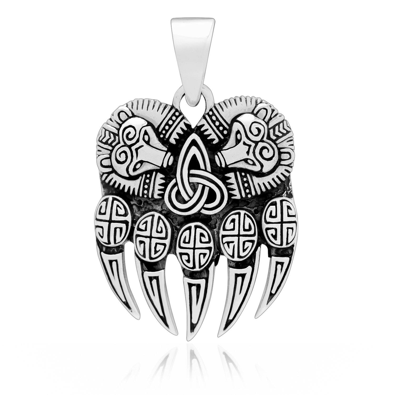 925 Sterling Silver Viking Print Bear Paw Claw Slavic Pagan Pendant Amulet