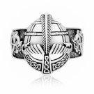 925 Sterling Silver Viking Gjermundbu Helmet with Jormungand Dragon Ring