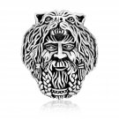 925 Sterling Silver Viking Warrior Berserker with Bear Hood Ring