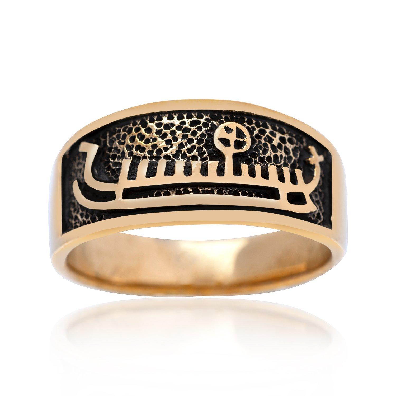 Handcrafted Bronze Viking Drakkar Longship Norse Ship Unisex Band Ring