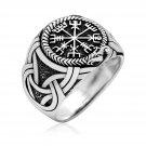 925 Sterling Silver Viking Vegvisir Compass Jormungand Mammen Ring