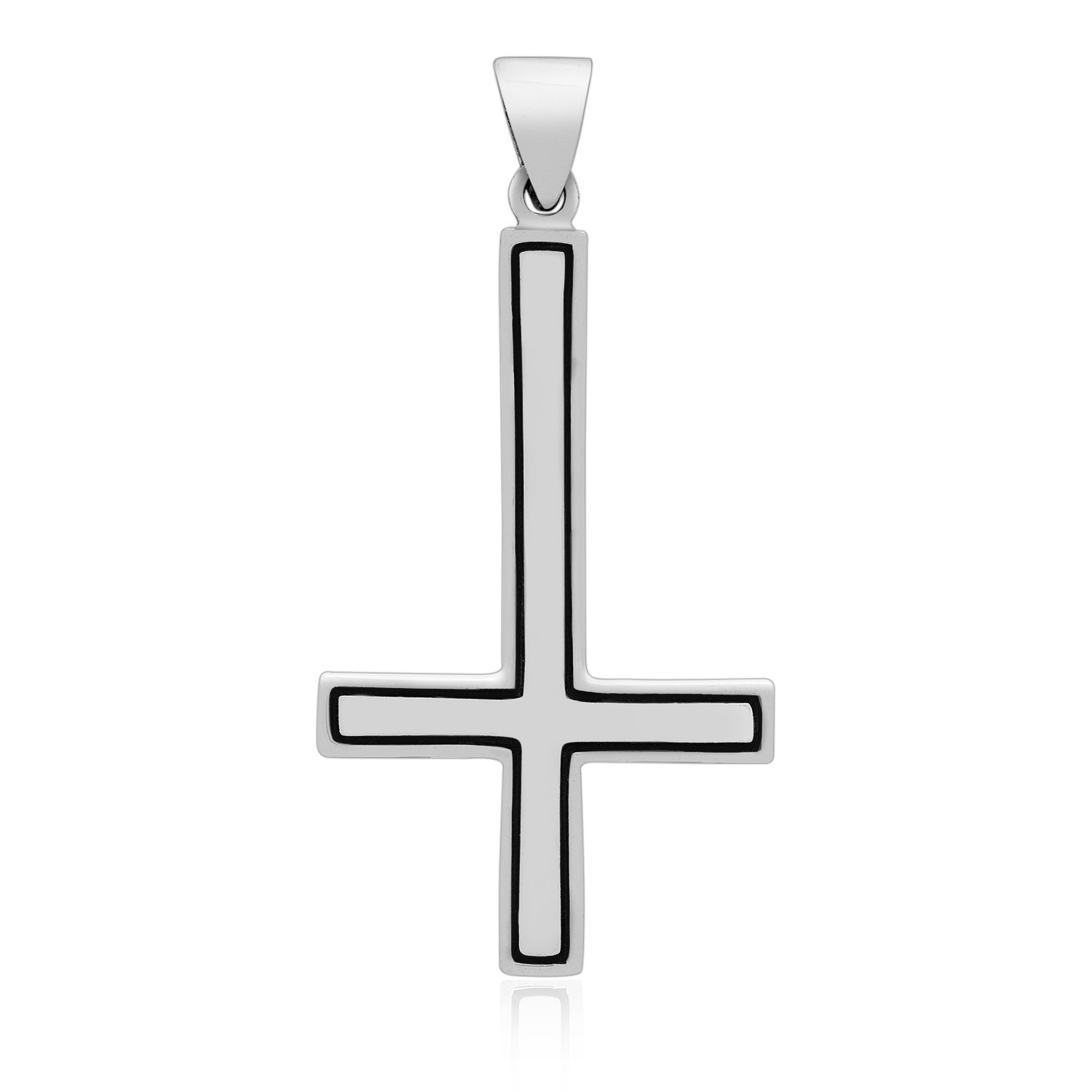 925 Sterling Silver Reversed Inverted St Peter Petrine Cross Satanic Lucifer Pendant
