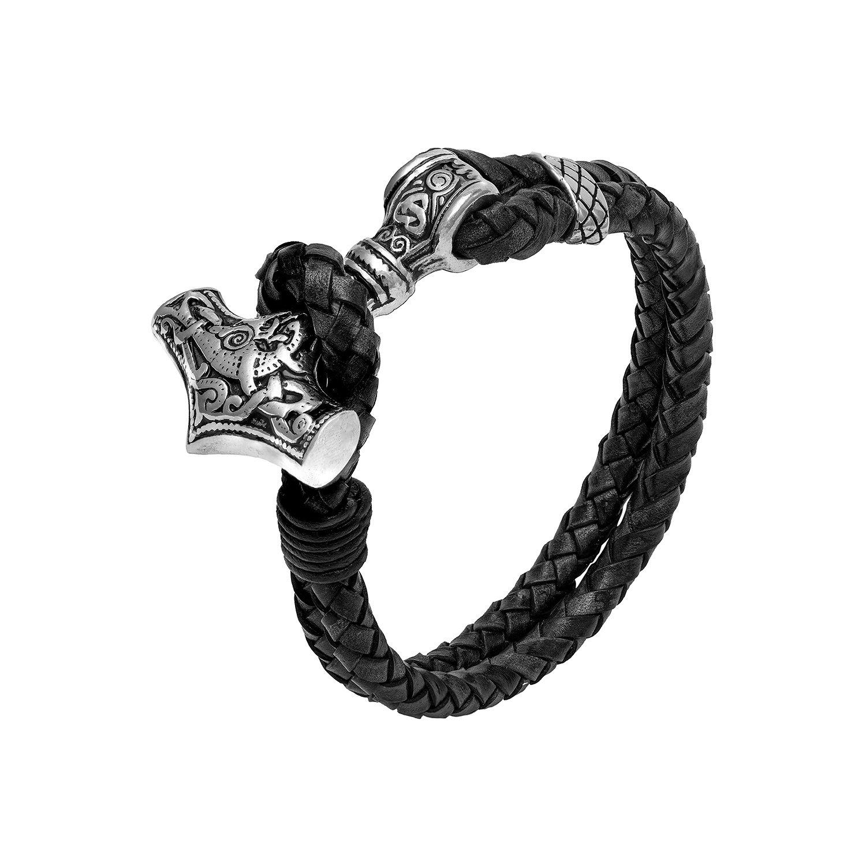 Stainless Steel Viking Thor Hammer Mjolnir Black Leather Bracelet