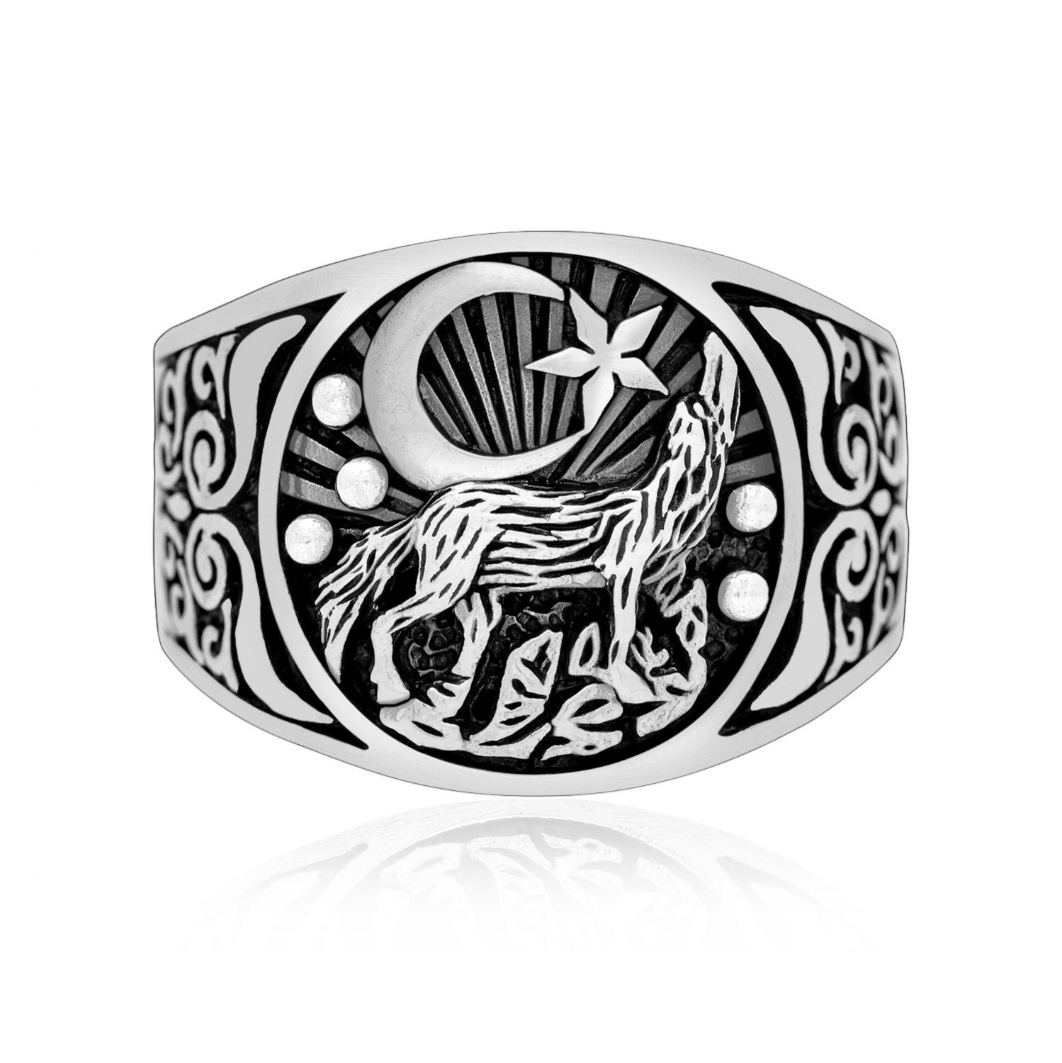 925 Sterling Silver Howling Wolf Viking Wiccan Moon Star Ring