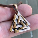 Handcrafted Bronze Norse Valknut Knot Viking Pagan Jewelry Charm Pendant