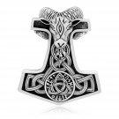 925 Sterling Silver Viking Thor Hammer Mjolnir Ram Goat Head Runes Triquetra Knotwork Pendant