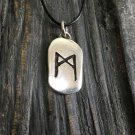 925 Sterling Silver Viking Runic Mannaz Futhark Letter Antique Finish Pendant