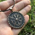 Handcrafted Bronze Viking Vegvisir Norse Compass Amulet Pendant