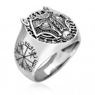 925 Sterling Silver Viking Legendary Wolf Fenrir Head Vegvisir Compass Runes Ring