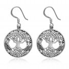 925 Sterling Silver Celtic Tree of Life Viking Yggdrasil Shieldmaiden Earrings
