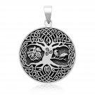 925 Sterling Silver Viking Yggdrasil Tree of Life Raven Horse Sleipnir Celtic Triskelion Pendant