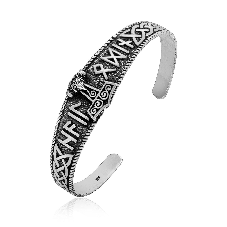 925 Sterling Silver Thor Hammer Mjolnir Hail Odin Runes Infinity Knots Pagan Bangle Bracelet