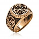 925 Sterling Silver Viking Vegvisir Compass Runes Ring Handcrafted from Bronze