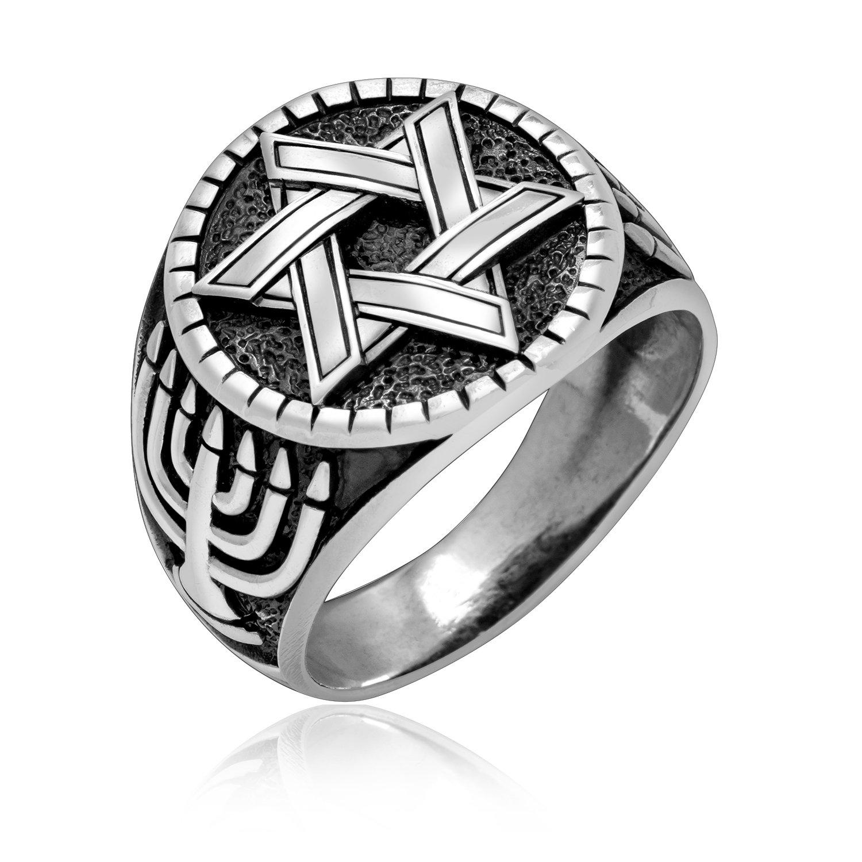925 Sterling Silver Star of David Chai Menorah Judaica Solomon Hebrew Ring