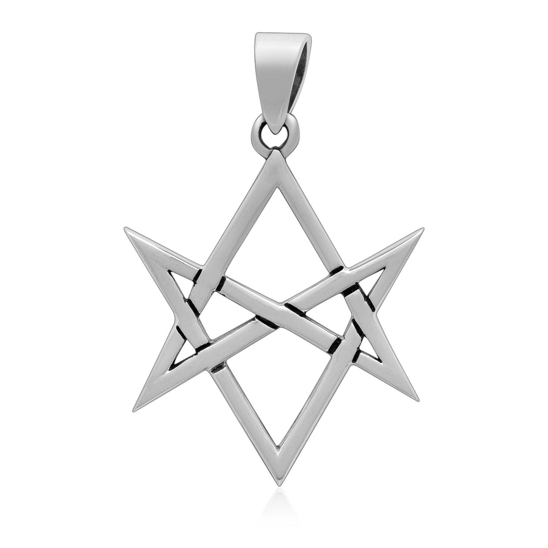 925 Sterling Silver Unicursal Hexagram Thelema Symbol Golden Dawn Magick Occult Pendant