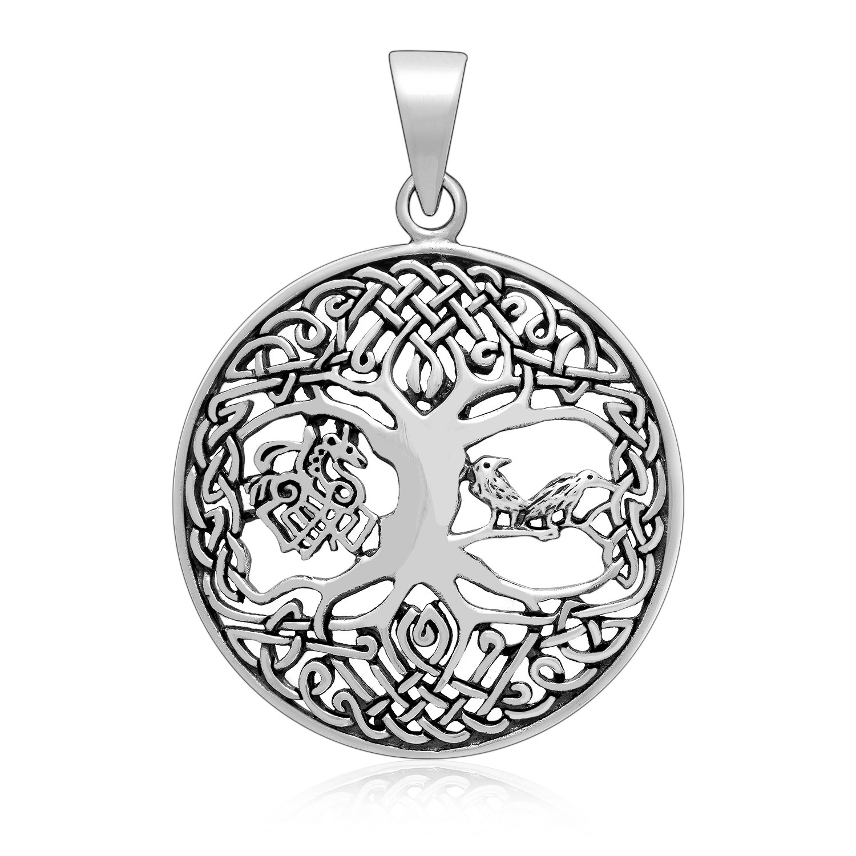 925 Sterling Silver Viking Yggdrasil Tree of Life Raven Horse Sleipnir Pendant