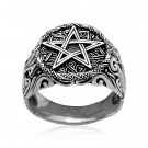 925 Sterling Silver Pentagram Pentacle Wiccan Star Signet Gothic Ring