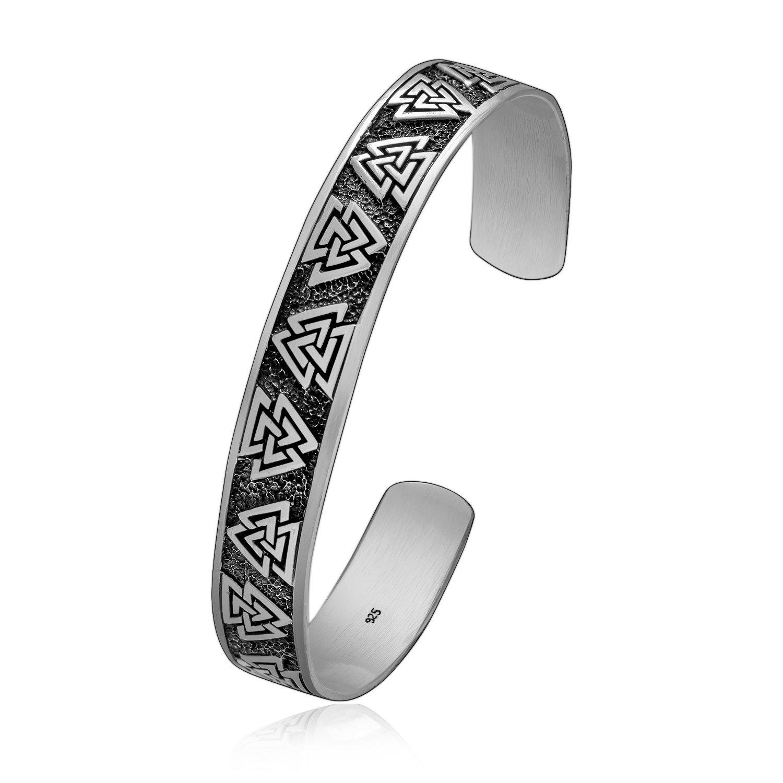 925 Sterling Silver Viking Valknut Knots Pagan Bangle Bracelet