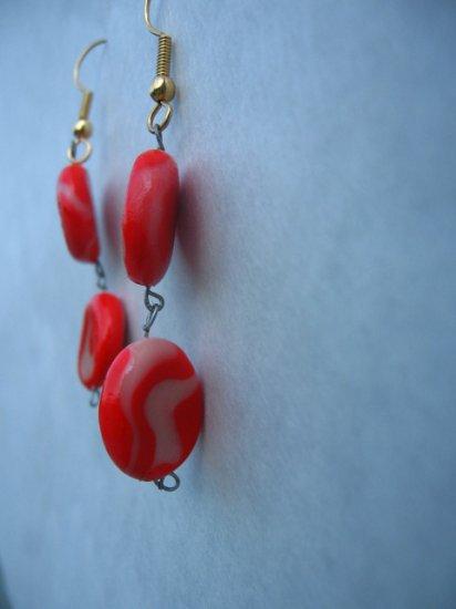 Red & White Swirled Earrrings