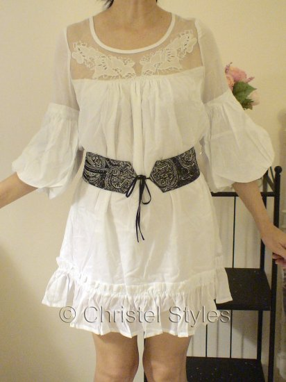 NEW White Lace Cocktail Wedding Baby Doll Dress Size L