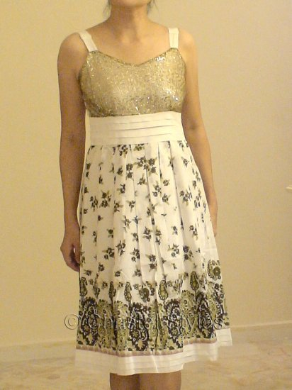 NEW White Green Floral Cocktail Wedding Party Dress Size L