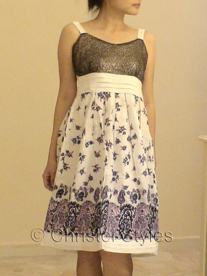 NEW White Lilac Floral Cocktail Wedding Party Dress Size L