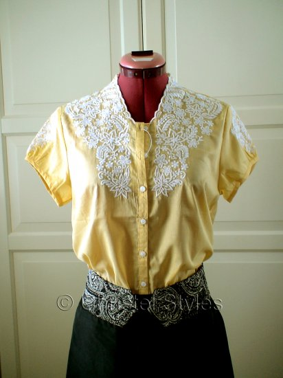 Classic Embroidered Yellow Women's Shirt Size M (was $19)