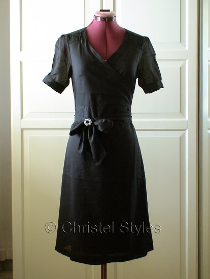 NEW Classic & Stylish Black Cotton Wrap Dress Size L
