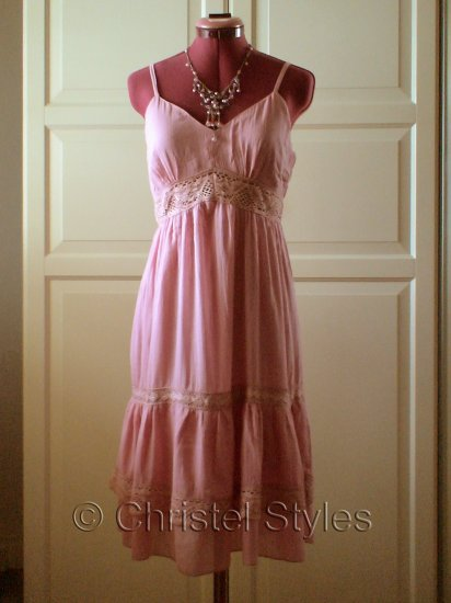 Sexy Dusty Pink Cocktail Wedding Baby Doll Lace Dress Size L (was $26)