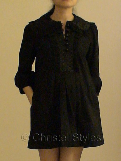 Black Frilled Collar 3/4 Sleeves Mini Dress Size L (was $25)