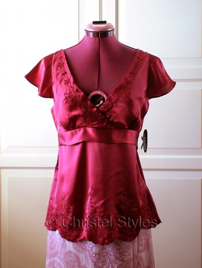 Red Embroidered Empire Baby Doll Silk Top Size L  (was $22)