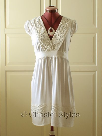 NEW Cream Lace Empire Baby Doll Dress Size M