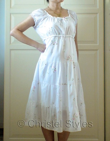 White Floral Embroidered Baby Doll Dress Size 1XL (was $24)