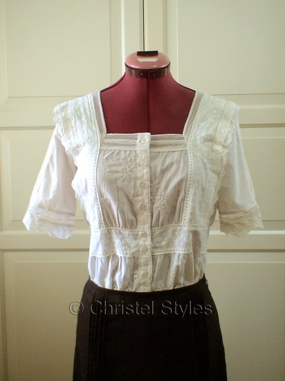 Beige Embroidered Eyelet Lace Cotton Top Size S  (was $27)