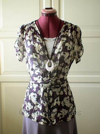 Cream-Purple-Black Floral Blouse Top Size M  (was $18)