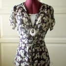 Cream-Purple-Black Floral Blouse Top Size L  (was $18)