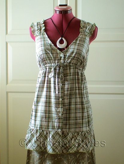 Empire Baby Doll Plaid Cotton Top Blouse Size L (was $18)